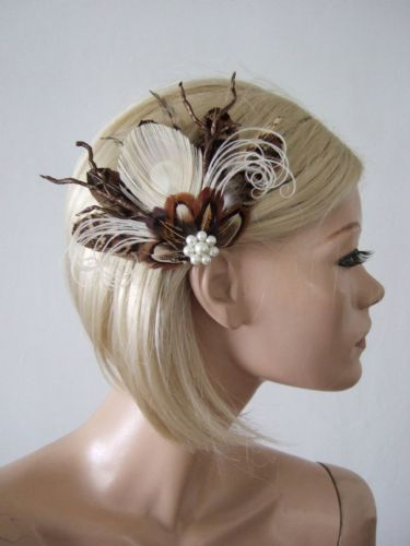 "Natural Peacock Brown Cream Nudes Feathers Fascinator Hair Clip ""Leah"" Winter Wedding Bridal Clip"